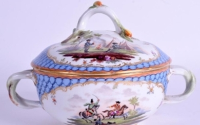 A 19TH CENTURY TWIN HANDLED GERMAN PORCELAIN BOX AND
