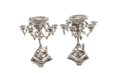 A pair of large silver-plated centrepieces