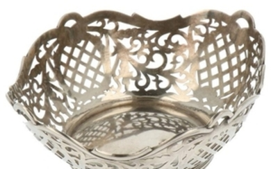 Bonbon basket with ajour openwork side and soldered thickened edges silver.