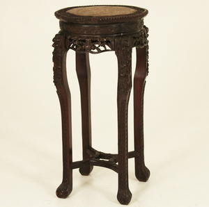 19TH C. CHINESE HARDWOOD MARBLE TOP STAND
