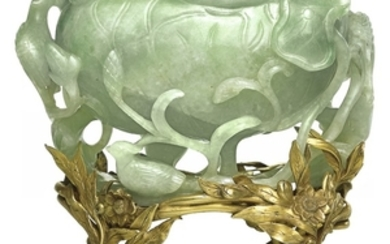 A JADEITE 'LOTUS' WASHER AND GILT-SILVER STAND QING DYNASTY, 19TH CENTURY