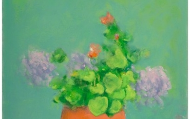 21010: Paul Resika (American, b. 1928) Geraniums Oil on