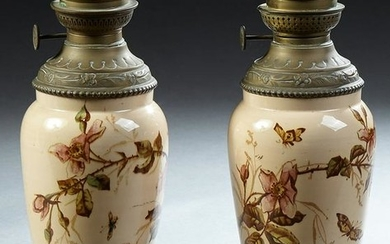 Pair of French Brass and Ceramic Kosmos Oil Lamps, c.