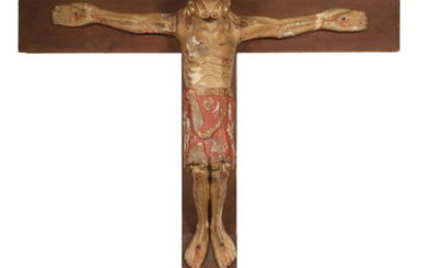 LARGE EARLY COLONIAL CRUCIFIX FIGURE OF CHRIST ON MODERN CROSS