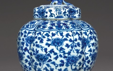 A RARE BLUE AND WHITE LOBED JAR AND COVER MARK AND PERIOD OF JIAJING