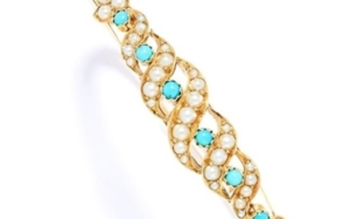 ANTIQUE TURQUOISE AND PEARL BANGLE, 19TH CENTURY in
