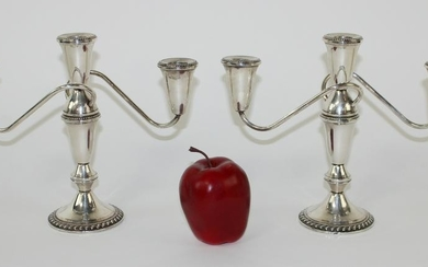 Pair of weighted sterling silver candelabra