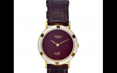 HERMES Lady's 18K gold wristwatch 1980s Dial and case...