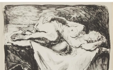 MOSES SOYER (american, 1899–1974) RECLINING NUDE Pencil signed and...