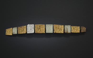 A VERY RARE SET OF GOLD AND JADE GARMENT HOOK PLAQUES, EASTERN ZHOU DYNASTY, 4TH CENTURY BC