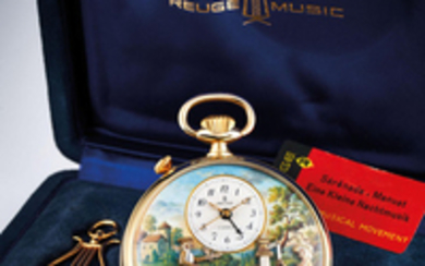 Reuge. A Gold Plated Musical Automaton Open Face Pocket Watch with Alarm