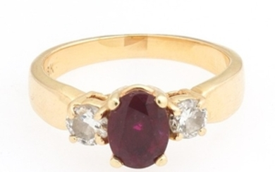 Ladies' Gold, Natural Ruby and Diamond Ring