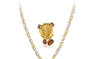 A Citrine and Diamond Ring and Necklace Set