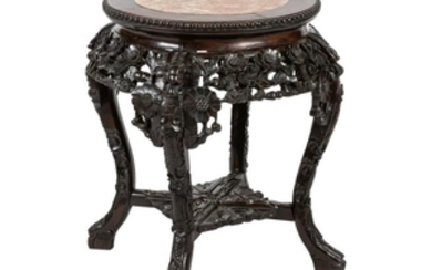 Chinese Carved Teak & Marble Stand