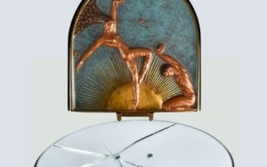 "Erte ""Le Femine Fatale"" Bronze Table Mirror"