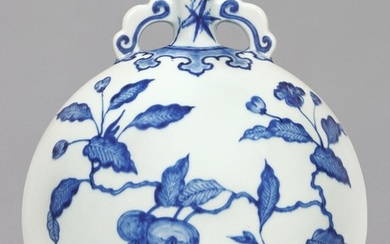 A FINE BLUE AND WHITE MING-STYLE 'PERSIMMON' MOONFLASK, QING DYNASTY, YONGZHENG PERIOD | 清雍正 青花事事如意紋雙耳抱月瓶