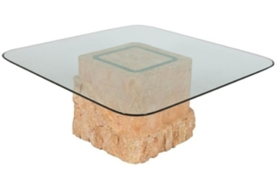 Fossilized Coral Glass Top Coffee Table