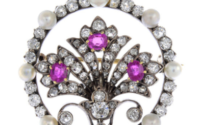 A late Victorian silver and gold, ruby, diamond and seed pearl brooch.
