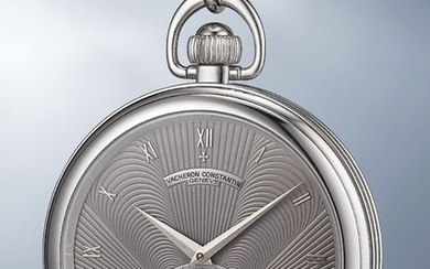 Vacheron Constantin, Ref. 92244 An extremely rare and lavish platinum open face tourbillon pocketwatch with white gold chain