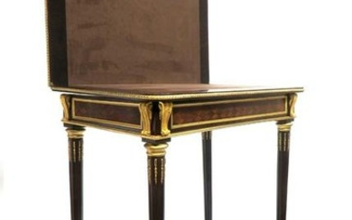 Very Fine French Bronze Mounted Game Table. Signed