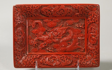 Chinese Carved Red Cinnabar Lacquer Dragon Tray