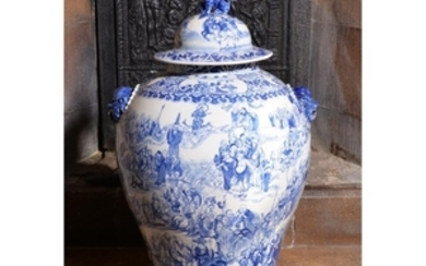 A large Chinese blue and white cistern and cover