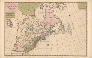 "Price reduced by $400! A Map Showing Fascinating Geographic Misconceptions in Colonial America, ""Carte Nouvelle de l'Amerique Angloise Contenant la Virginie, Mary-Land, Caroline, Pensylvania Nouvelle Iorck. N: Iarsey N: France, et les Terres..."