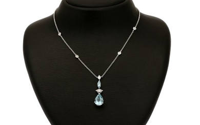 An aquamarine and diamond necklace set with two aquamarines and six diamonds, mounted in 18k white gold. L. 43 cm.