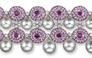A pink sapphire and diamond bracelet, the two rows…