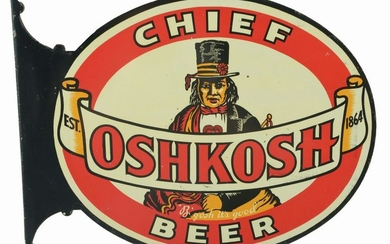 CHIEF OSHKOSH BEER TIN ADVERTISING FLANGE SIGN.