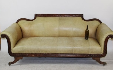 American Federal style rolled arm sofa with leather