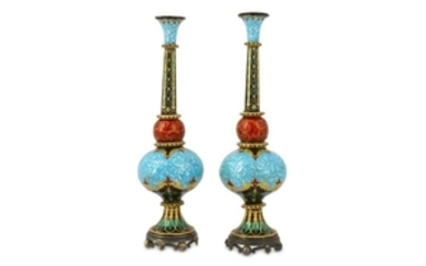 A PAIR OF ORIENTALIST POLYCHROME-ENAMELLED SPRINKLERS