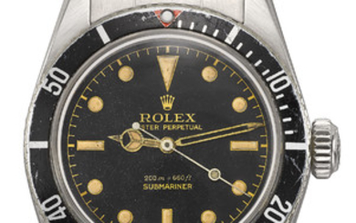 "ROLEX. A VERY RARE STAINLESS STEEL AUTOMATIC WRISTWATCH WITH SWEEP CENTRE SECONDS AND ""BIG LOGO"" BRACELET, SIGNED ROLEX, OYSTER PERPETUAL, SUBMARINER, 200M=660FT, REF. 5510, CASE NO. 362'289, CIRCA 1958"