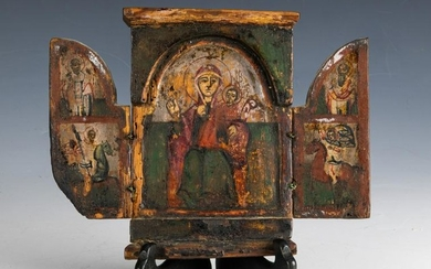 Russian Triptych Icon Theotokos, Painted Wood
