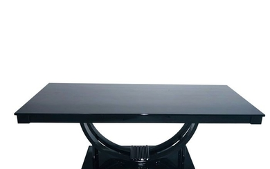 Adolf Loos Style Art Deco Dining Table in High Gloss Black