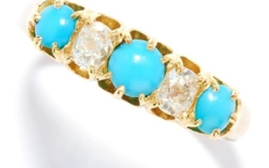 ANTIQUE TURQUOISE AND DIAMOND RING in 18ct yellow gold,