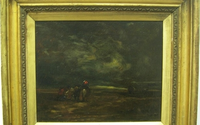 "Attributed to David Cox snr (1753-1859) oil ""Horse & figures..."