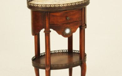LOUIS XV STYLE 2 TIER MAHOGANY OVAL M/TOP STAND