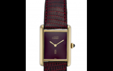 CARTIER Lady's silver wristwatch gold plated 1990s Dial and...