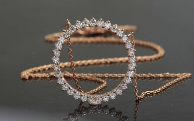 Necklace in 14K with brilliant cut diamonds 1.00ct