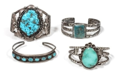 Four Southwestern Silver and Turquoise Bracelets