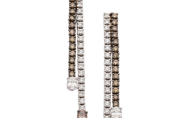 Colored Diamond, Diamond, White Gold Earrings The earrings feature...