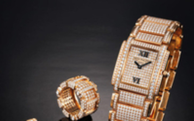 Patek Philippe. A Very Rare Lady's Suite of a Pink Gold and Full Diamond-set Bracelet Watch With A Matching Pair of Earrings and Ring