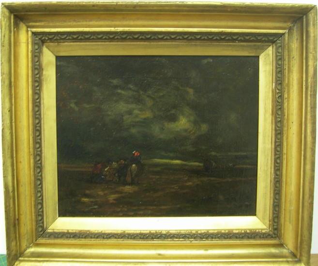 """Attributed to David Cox snr (1753-1859) oil """"Horse & figures..."""