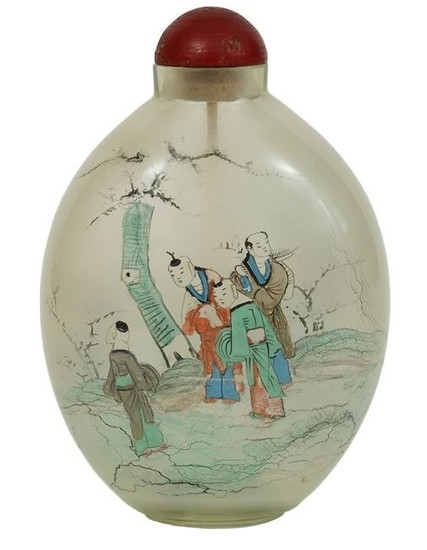 Chinese Large Hand Painted Snuff Bottle