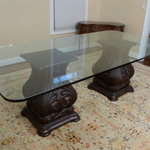 Double Pedestal Gl Top Dining Table