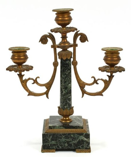 FRENCH, BRONZE AND MARBLE CANDELABRUM, 19TH C.