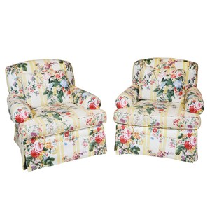 Lot Art Floral Stripe Upholstered Swivel Chairs By Lee Coggin