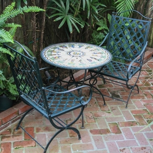 Lot Art Hand Painted Tile Top Metal Patio Table With Chairs