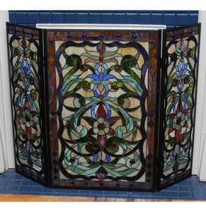 Lot Art Stained Glass Fireplace Screen
